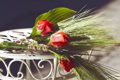 Wedding decorations red roses Stock Images