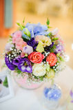 Wedding decorations at restaurant with all beauty and flowers Stock Photos