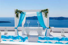 Wedding decorations  in Santorini Stock Photos