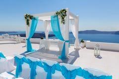 Wedding decorations  in Santorini Stock Photo