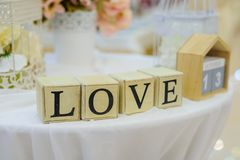 Wedding decorations with cubes Love royalty free stock images