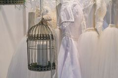 Wedding decorations and wedding dresses. In store royalty free stock photo