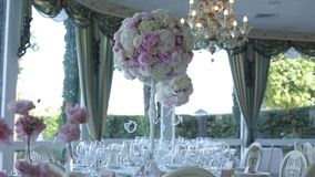 Wedding decorations from white and red flowers ceremony floristics