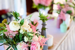 Wedding decorations.  wooden, pink flowers, Ribbons Stock Photography