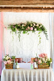 Wedding decorations.  wooden, pink flowers, Ribbons Stock Images