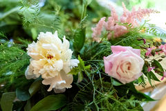 Wedding decorations.  wooden, pink flowers, Ribbons Stock Photo