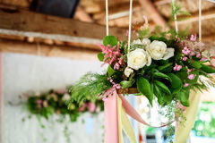 Wedding decorations.  wooden, pink flowers, Ribbons Royalty Free Stock Photo
