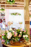 Wedding decorations.  wooden, pink flowers, Ribbons Royalty Free Stock Photos
