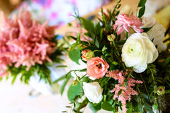 Wedding decorations.  wooden, pink flowers, Ribbons Royalty Free Stock Images