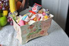 Wedding decorative box with colored candies and lollipops Stock Images