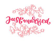 Wedding decorative Vector hand drawn lettering of text pink Just Married and flowers. Hand drawn lettering quotes Stock Photos