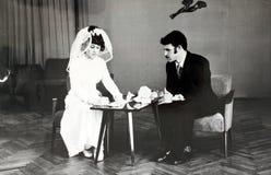 Wedding in den siebziger Jahren in der UDSSR Lizenzfreie Stockfotos