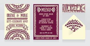 Wedding design for boho style in lilac colours. Vector illustration stock illustration