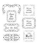 Wedding design with decorative frames, headers and vignette. Wedding design collection decorative frames, headers and vignette vector illustration