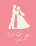 Wedding design concept with bride and groom silhouettes and hand written custom calligraphy. Royalty Free Stock Photo
