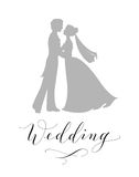 Wedding design concept. Bride and groom silhouettes and hand written custom calligraphy isolated on white Stock Photo