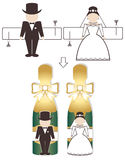 Wedding design elements. Cute figures of groom and bride for decoration of bottles with champagne, etc Stock Photography