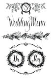 Wedding design elements set, floral frame and vignette Stock Image