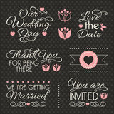 Wedding design elements. Set of stickers and ribbons, wedding design elements, vector illustration Royalty Free Stock Photo