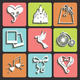 Wedding Design Flat icons for Web and Mobile.Vecto Royalty Free Stock Image