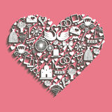 Wedding Design.Icons for Web and Mobile in hearts composition Royalty Free Stock Image