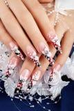 Wedding  design on  nails. Stock Image