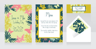 Wedding design with palm leaves and hibiscus flowers, tropical style Royalty Free Stock Images