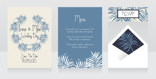 Wedding design with palm leaves and hibiscus flowers, tropical style Stock Photo