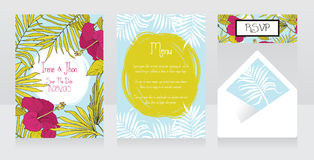 Wedding design with palm leaves and hibiscus flowers, tropical style Stock Photos