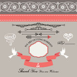Wedding design  template with Paisley border,cartoon,hearts Royalty Free Stock Photo