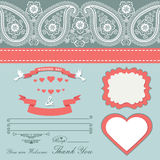Wedding design  template with Paisley border,cartoon,hearts Royalty Free Stock Photos