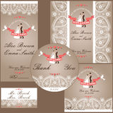 Wedding design  template with Paisley border,cartoon wedding bri Stock Images