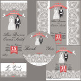 Wedding design  template with Paisley border,cartoon wedding clo Royalty Free Stock Image