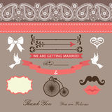 Wedding design  template with Paisley border,ribbon,cute element Stock Photography