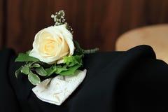 WEDDING DETAIL. White Rose on the Wedding Coat Royalty Free Stock Image