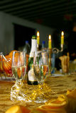Wedding detail - glasses. Two glasses of champagne on a arranged table for bride and groom Royalty Free Stock Photos