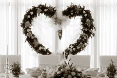 Wedding detail - heart. Flowers heart for weedding arrangement Stock Photos