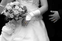 Wedding detail - rings. The bride and the groom with their wedding rings on Royalty Free Stock Image