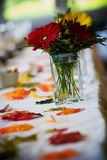 Wedding details. Detail from a wedding table, bouquet of flowers - this has a very shallow depth of field Stock Photography