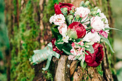 Wedding details. Beautiful wedding bouquet of peonies on a tree Royalty Free Stock Images
