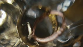 Wedding details. Blurred picture of wedding rings stock video footage