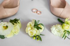 Wedding details. Bouquet and accessories of bride.  Stock Photo