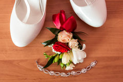 Wedding details. Bouquet and accessories of bride and groom Stock Images