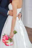Wedding details. Bride and groom indoors Stock Image