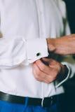 Wedding details, cufflinks, elegant male suit Stock Photo