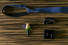 Wedding details. Groom accessories. Stock Photo