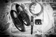 Wedding details. Man accessories. Wedding details accessory Groom Shoes, belt Stock Images