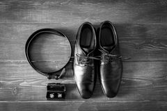 Wedding details. Man accessories. Groom outfit and accessories. Shoes, belt.cufflinks Royalty Free Stock Images