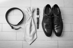 Wedding details. Man accessories. Groom outfit and accessories. Shoes, belt.cufflinks Stock Photos