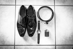 Wedding details. Man accessories. Royalty Free Stock Image